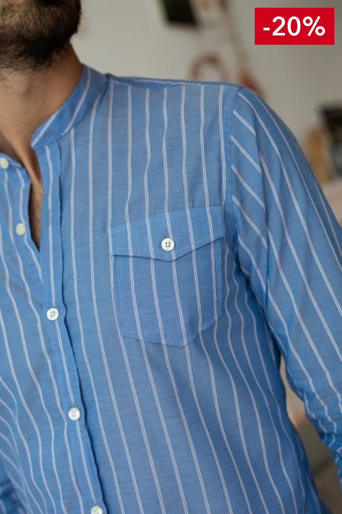 French brand men shirt blue and white on model  front detail