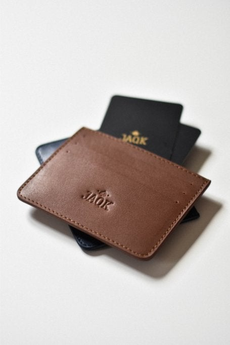 Brown leather cardholder for men flat view