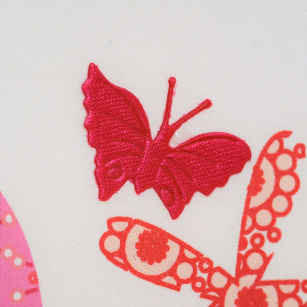 Birthday Card, Age 3 Girl Pink, Embellished with a fabric butterfly