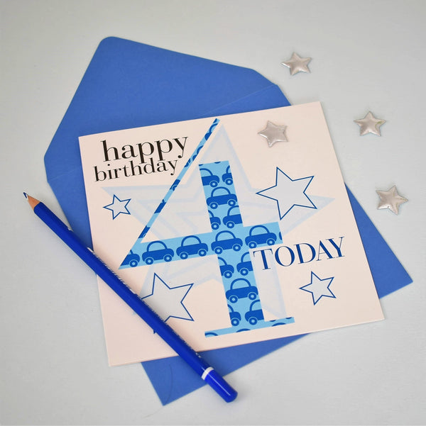 Birthday Card, Age 4 Boy Blue, Embellished with a padded star