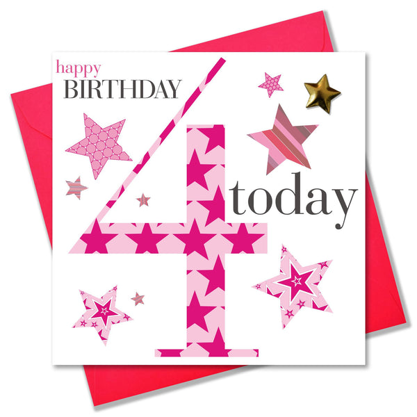 Birthday Card, Age 4 Girl, Pink, Embellished with a padded star