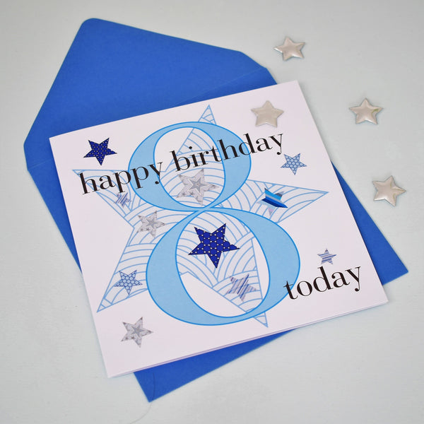Birthday Card, Age 8 Boy, Happy 8th Birthday, Embellished with a padded star