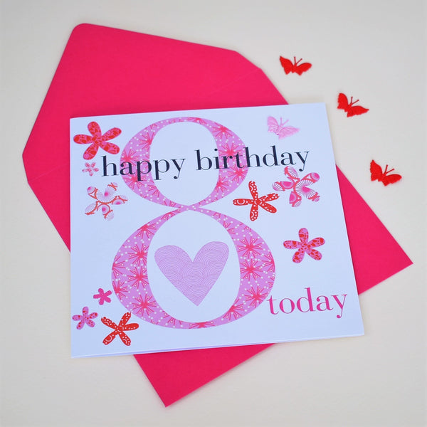 Birthday Card, Age 8 Girl, Happy 8th Birthday, fabric butterfly embellished