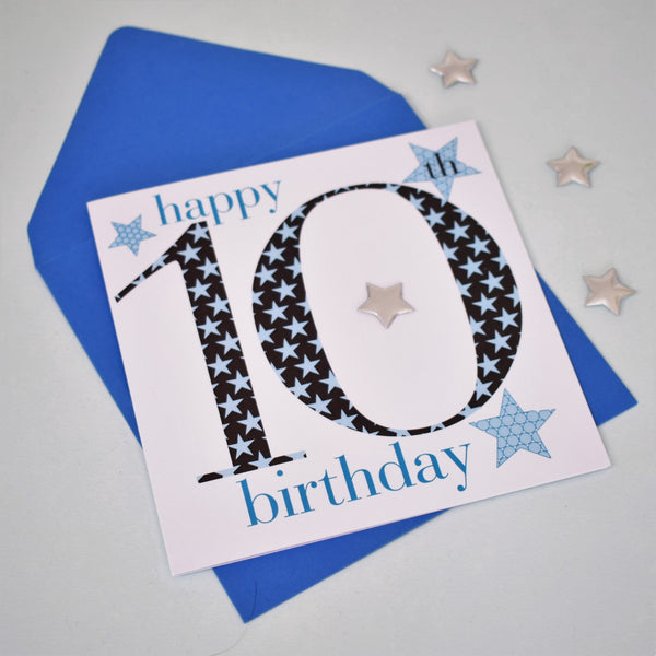 Birthday Card, Age 10 Boy, Happy 10th Birthday, Embellished with a padded star