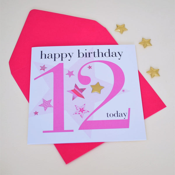 Birthday Card, Age 12 Girl, Happy 12th Birthday, Embellished with a padded star