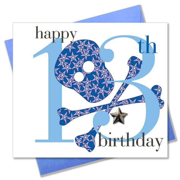 Birthday Card, Age 13 Boy, Happy 13th Birthday, Embellished with a padded star