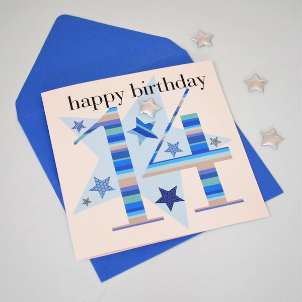 Birthday Card, Age 14 Boy, happy 14th Birthday, Embellished with a padded star