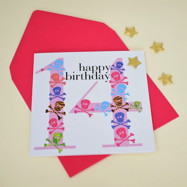 Birthday Card, Age 14 Girl, happy 14th Birthday, Embellished with a padded star