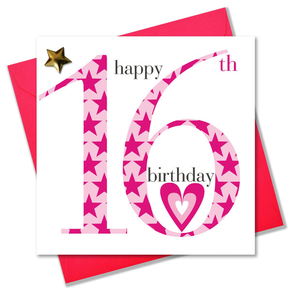 Birthday Card, Age 16 Girl, Happy 16th Birthday, Embellished with a padded star