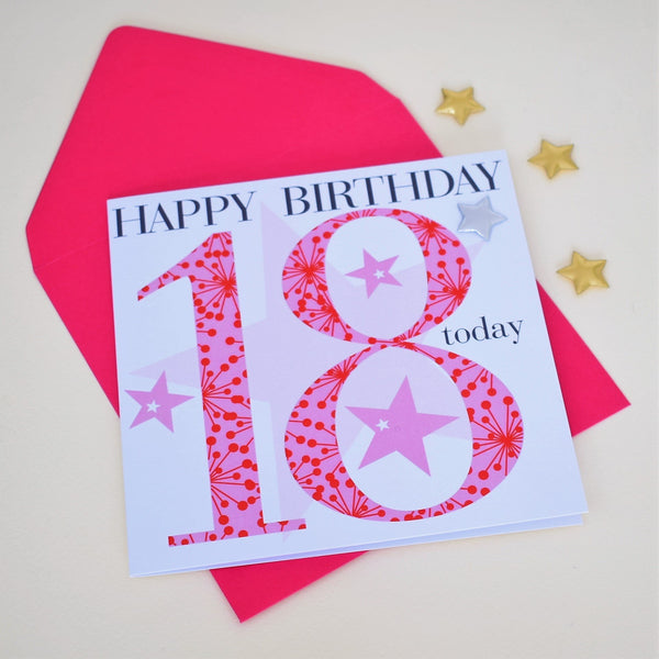 Birthday Card, Age 18 Girl, Happy 18th Birthday, Embellished with a padded star