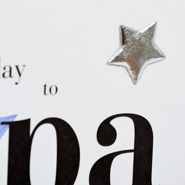 Birthday Card, Blue Star, Happy Birthday Papa, Embellished with a padded star