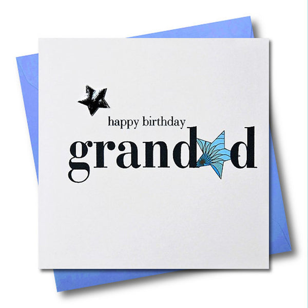 Birthday Card, Grandad, Blue Stars, Embellished with a shiny padded star