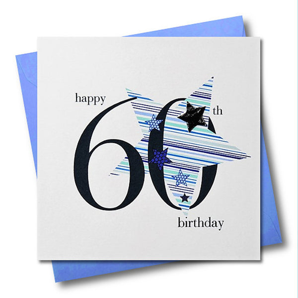 Birthday Card, Blue Star, Happy 60th Birthday, Embellished with a padded star