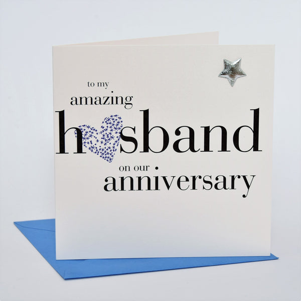 Husband Wedding Anniversary Card, Blue Heart, Embellished with a padded star