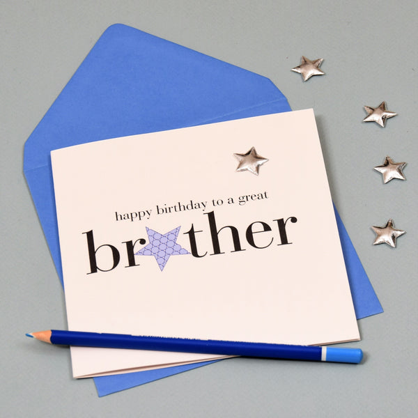 Birthday Card, Brother, Blue Stars, Embellished with a shiny padded star