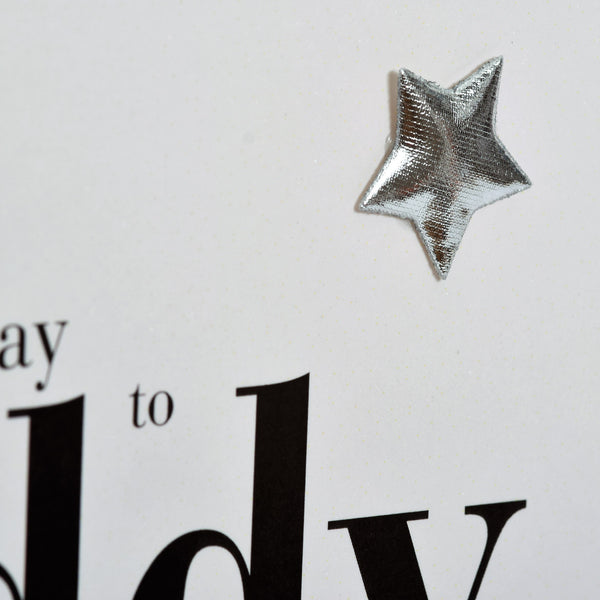 Birthday Card, Daddy, Blue Stars, Embellished with a shiny padded star