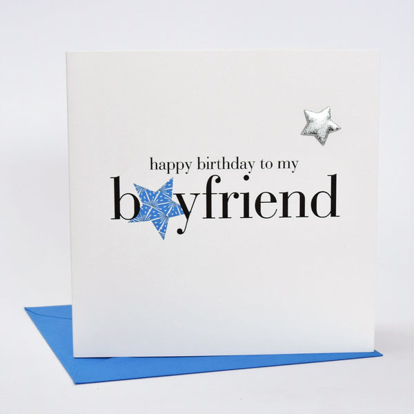Birthday Card, Blue Stars, Boyfriend, Embellished with a shiny padded star