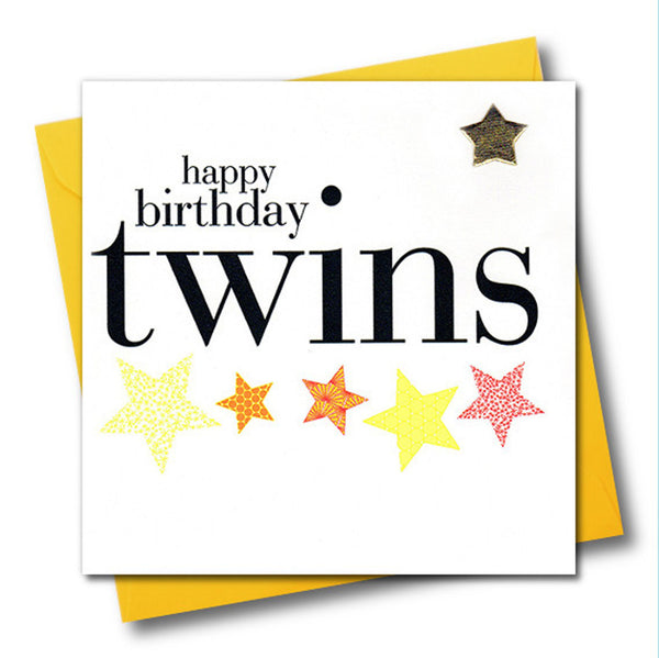 Happy Birthday Twins Card, Embellished with a shiny padded star