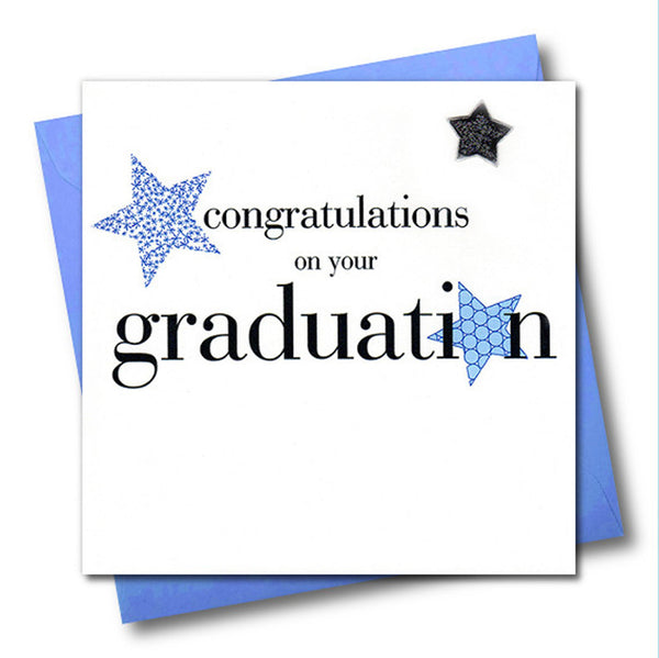 Congratulations on your Graduation Card, Blue Star, padded star embellished