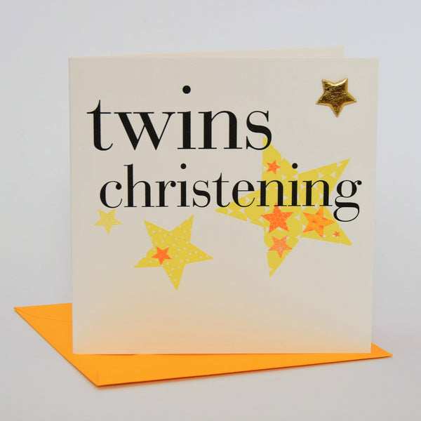 Baby Card, Yellow Stars, Twins Christening, Embellished with a shiny padded star