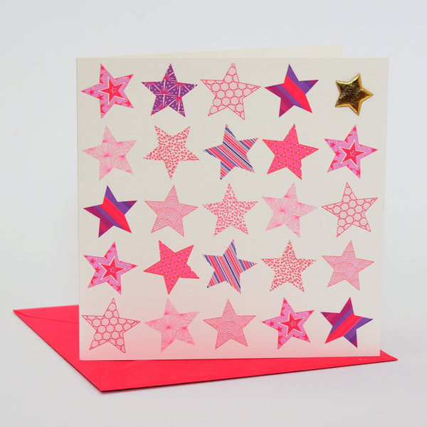General Card Card, Pink Stars, Happy Birthday, Embellished with a padded star