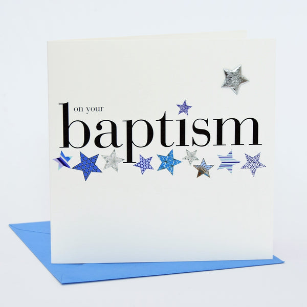 Baby Card, Blue Stars, On Your Baptism, Embellished with a shiny padded star
