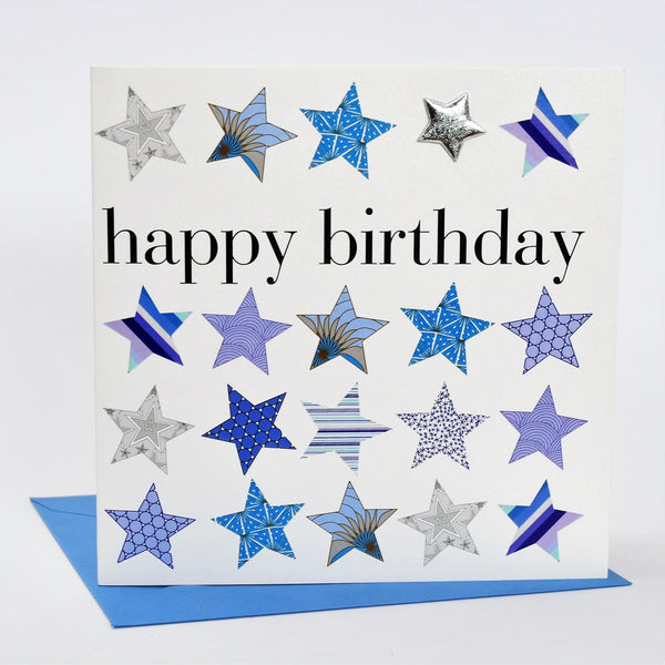 Birthday Card, Blue Stars, Happy Birthday, Embellished with a shiny padded star