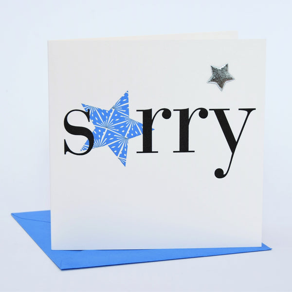 Sympathy, Sorry, Thinking of you Card, Blue Star, Embellished with a padded star