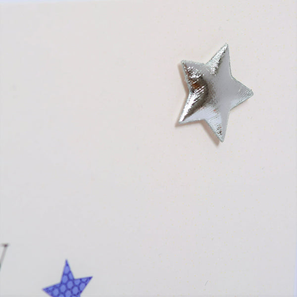Birthday Card, Blue Stars, Happy Birthday Friend, Embellished with a padded star