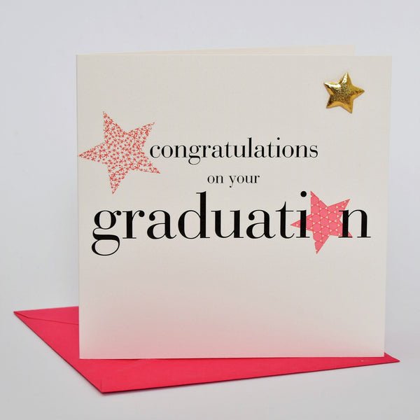 Congratulations Graduation Card, Pink, Embellished with a padded star