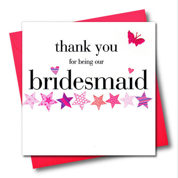 Wedding Card, Pink Stars, Bridesmaid, embellished with a fabric butterfly