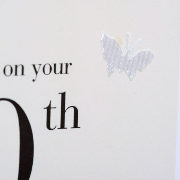 10th Wedding Anniversary Card, Congratulations, fabric butterfly Embellished