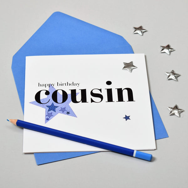 Birthday Card, Blue Star, Happy Birthday Cousin, Embellished with a padded star