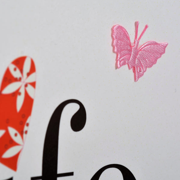 Birthday Card, Heart and Flowers, to my Wife, fabric butterfly Embellished