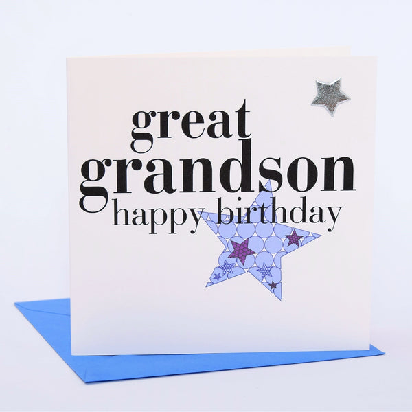Birthday Card, Blue Star, great grandson, Embellished with a padded star