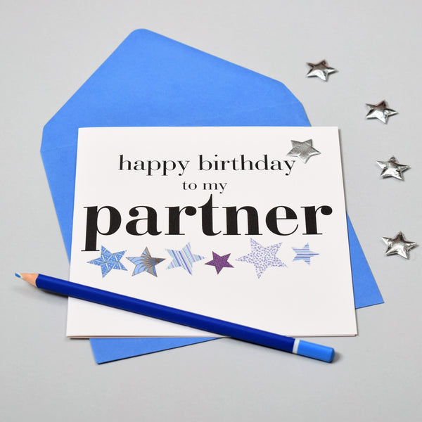 Birthday Card, Partner, Embellished with a shiny padded star