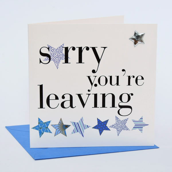 Good Luck Card, Sorry You're Leaving Blue, Embellished with a padded star