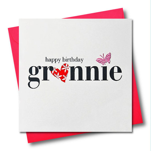 Birthday Card, Heart and Flowers, Grannie, fabric butterfly Embellished