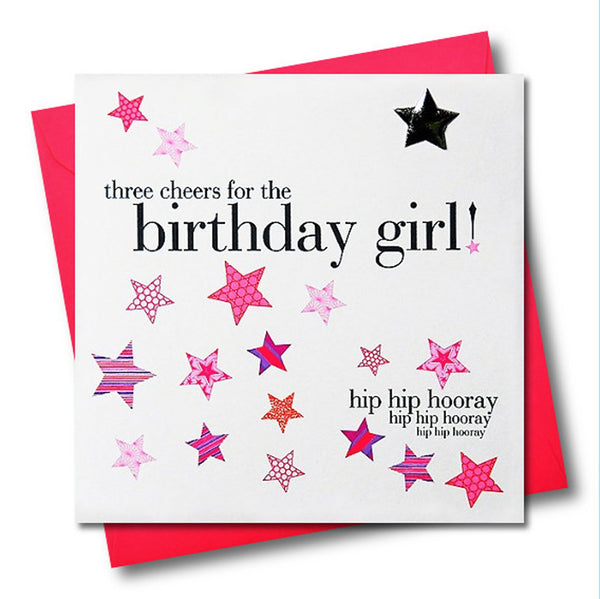 Birthday Card, Pink Stars, birthday girl, Embellished with a padded star