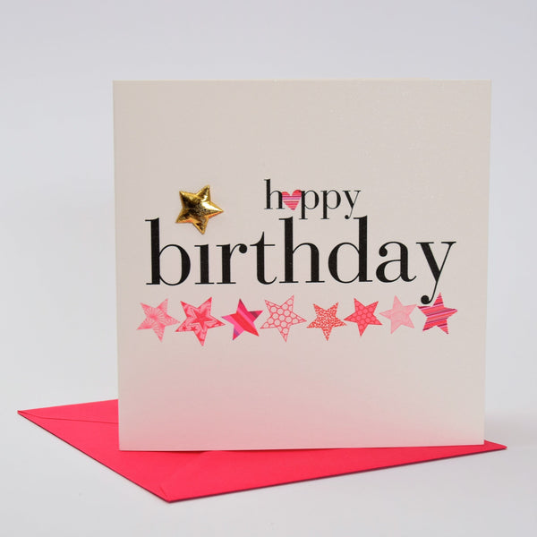Birthday Card, Pink Stars, happy birthday, Embellished with a shiny padded star