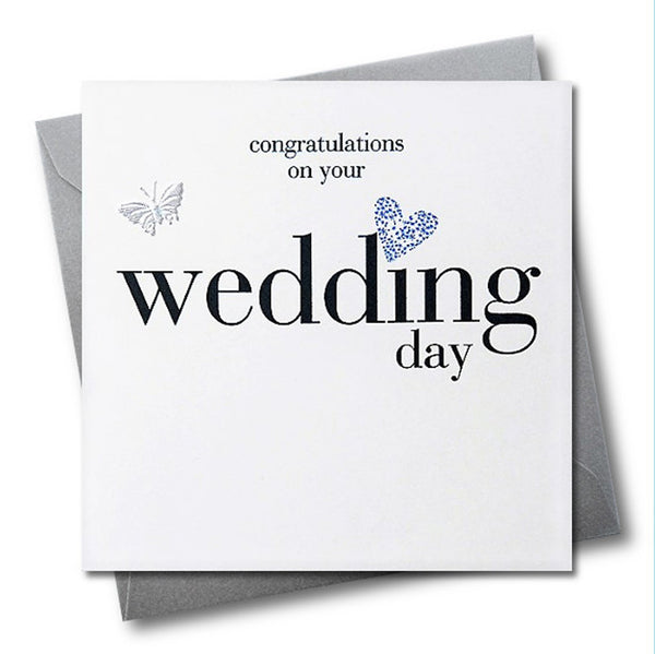 Wedding Congratulations Card, Silver Heart, fabric butterfly Embellished