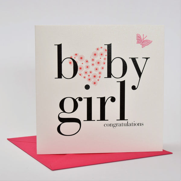 Baby Card, Pink Heart, Baby Girl Congratulations, fabric butterfly Embellished