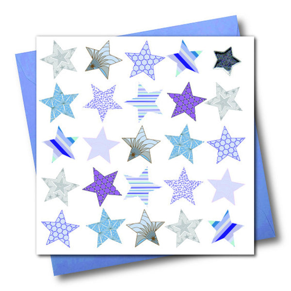 General Card Card, Blue Stars, Embellished with a shiny padded star