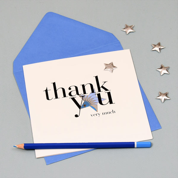 Thank You Card, Blue Star, Thank You Very Much, Embellished with a padded star