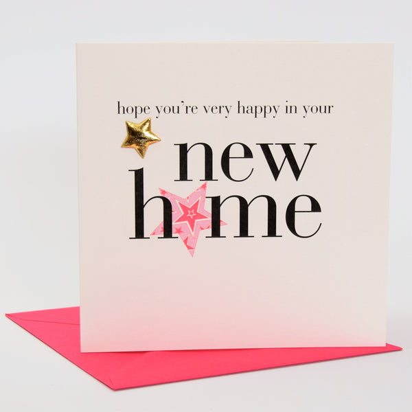 New Home Card, Pink Star, Embellished with a padded star
