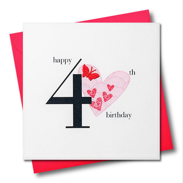 Birthday Card, Pink Heart, Happy 40th Birthday, fabric butterfly Embellished