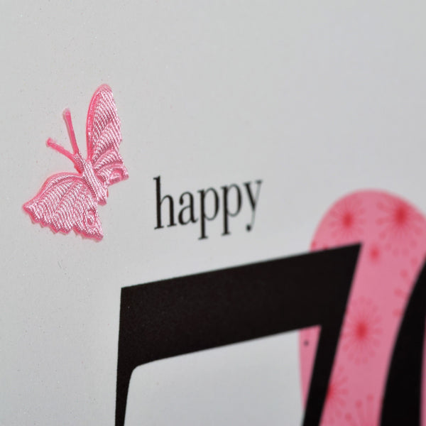 Birthday Card, Pink Heart, Happy 70th Birthday, fabric butterfly Embellished