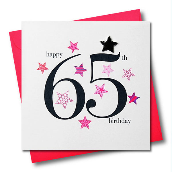 Birthday Card, Pink Stars, Happy 65th Birthday, Embellished with a padded star