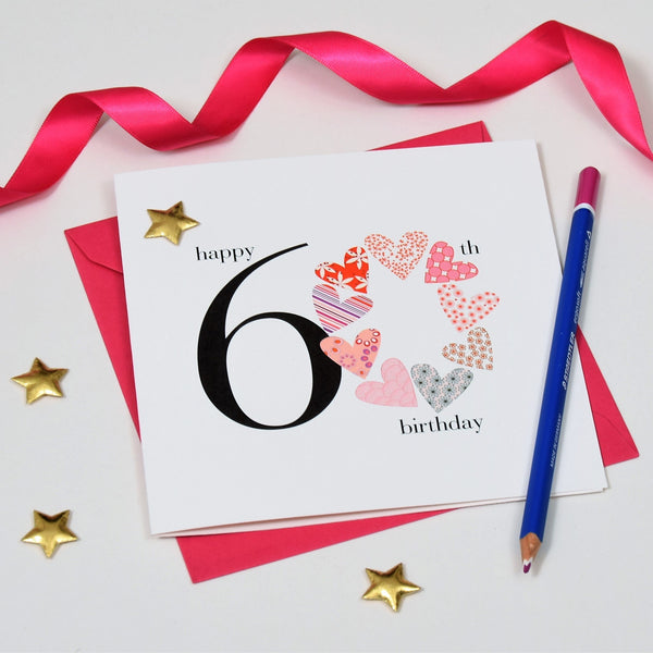 Birthday Card, Pink Hearts, Happy 60th Birthday, Embellished with a padded star