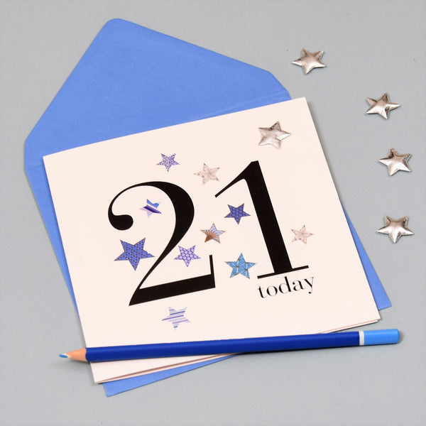 Birthday Card, Blue Stars, 21 today, Embellished with a shiny padded star